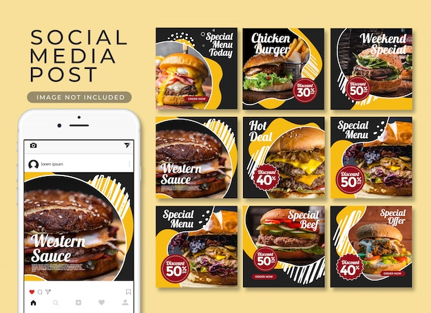 Social media food instagram post restaurant menu template collection Premium Psd