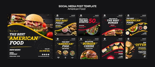 Social media food post template Free Psd