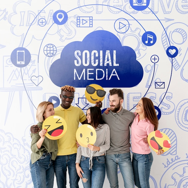 Social media friend group with emojis Free Psd