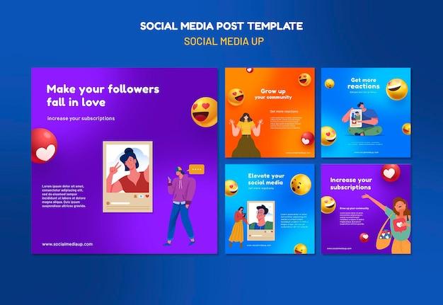 Шаблоны сообщений instagram в социальных сетях Бесплатные Psd