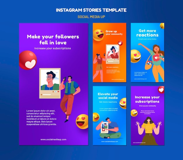 Шаблоны историй instagram в социальных сетях Premium Psd