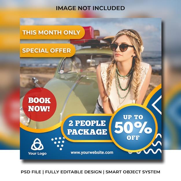 Social media instagram travel promotion template Premium Psd