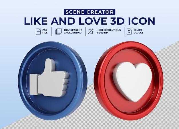 Социальные сети like and love минималистичный значок 3d кнопки для создателя сцены Premium Psd
