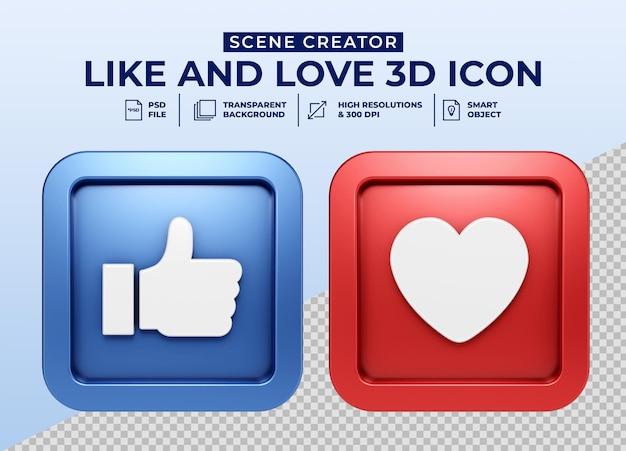 Social media like and love minimalist 3d button icon for scene creator Premium Psd