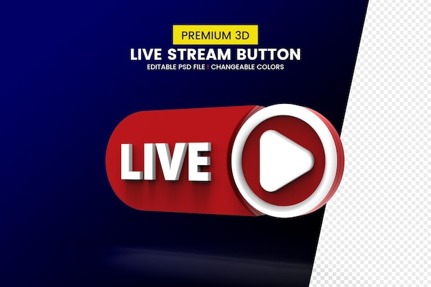 Social media live streaming 3d rendering button isolated Premium Psd