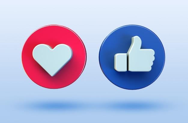 Social media love and like minimalist 3d button icon Premium Psd