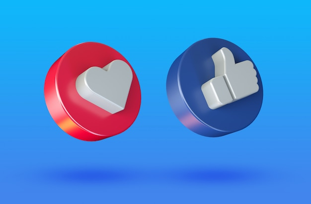 Social media love and like minimalist 3d button icon Premium Psd