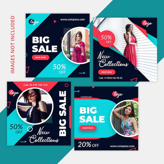 Social media marketing shopping pack, instagram post, square banner or flyer template Premium Psd