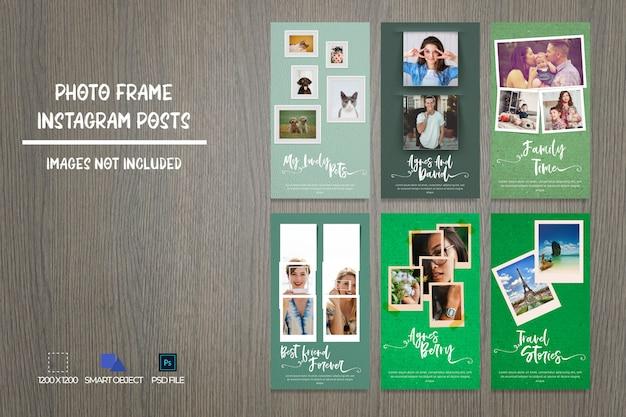 Social media photo frame instagram stories bundle Premium Psd