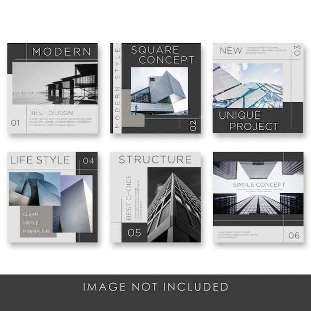 검은 색 템플릿 소셜 미디어 게시물 아키텍처 컬렉션 프리미엄 PSD 파일