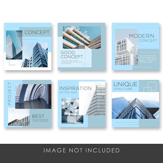 Social media post architecture with blue color collection template Premium Psd