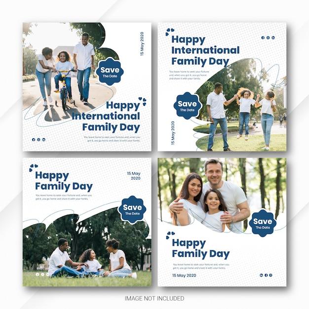 Социальные медиа пост баннер bundle международный день семьи шаблон Premium Psd