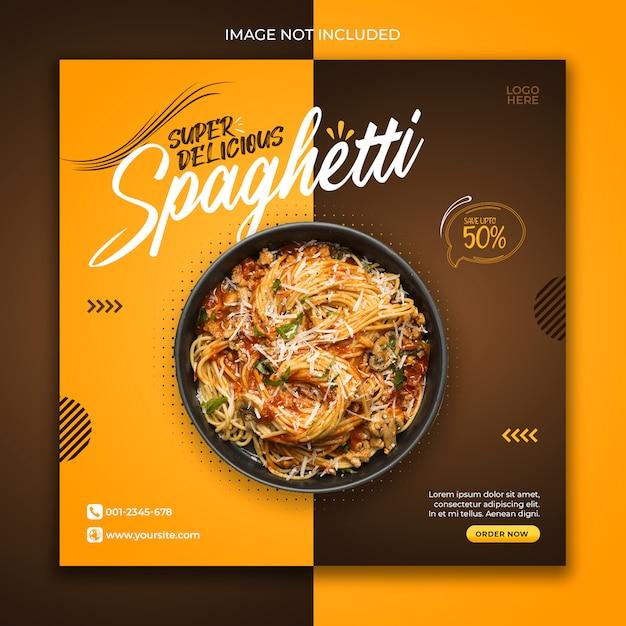 Social media post banner food template special menu Premium Psd