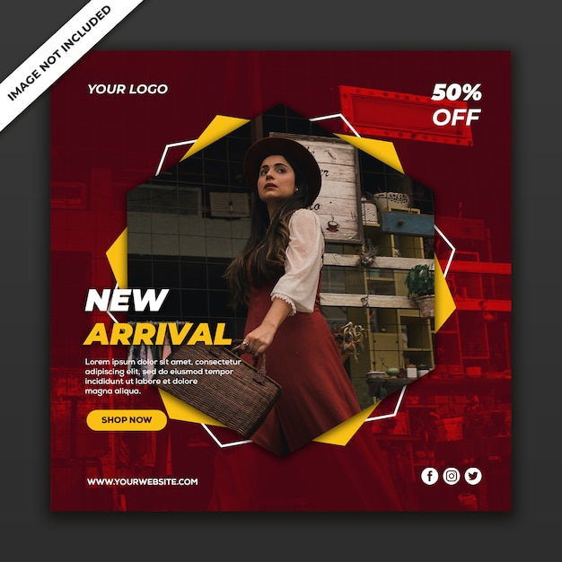 Social media post banner template new fashion style girl Premium Psd
