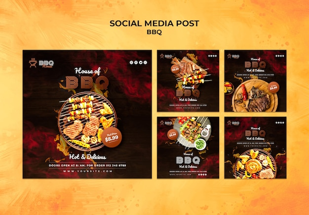 Социальная медиа пост коллекция для барбекю Premium Psd