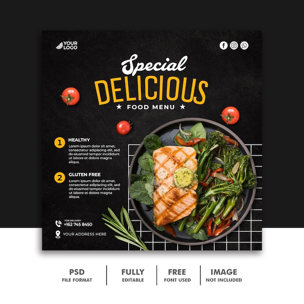 レストランのソーシャルメディア投稿ファーストフードバナーテンプレート Premium Psd