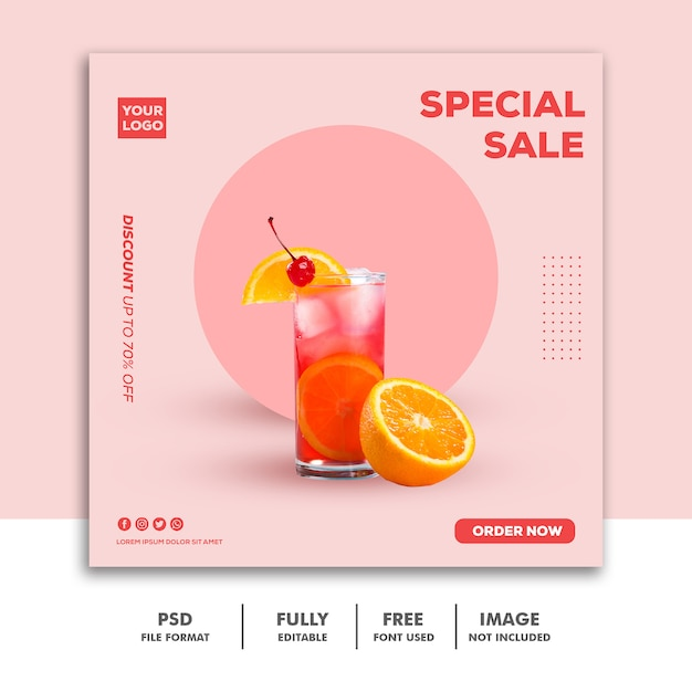Social media post instagram banner template food drink special sale pink Premium Psd