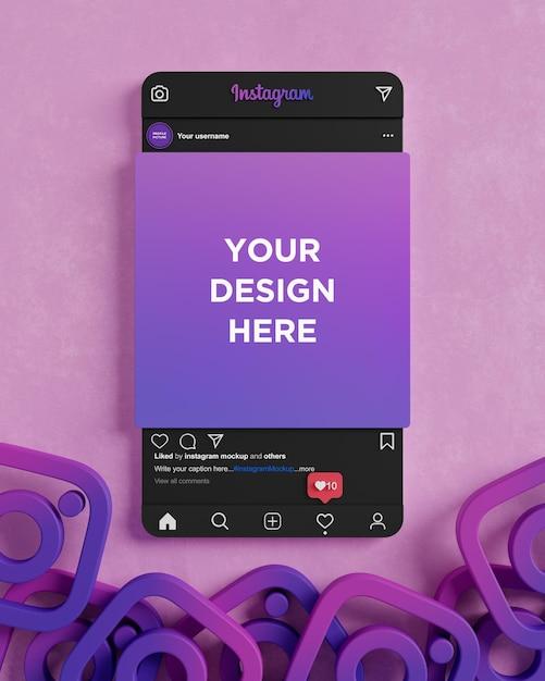 Social media post instagram dark mode mockup interface 3d render
