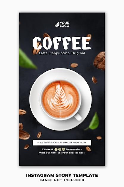 Social media post instagram stories banner template for restaurant food menu drink coffee Premium Psd
