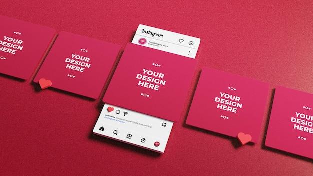 ソーシャルメディアが3dinstagramインターフェースでモックアップを投稿 Premium Psd