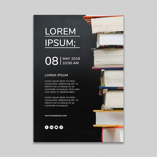 Social media post mockup with literature concept Free Psd