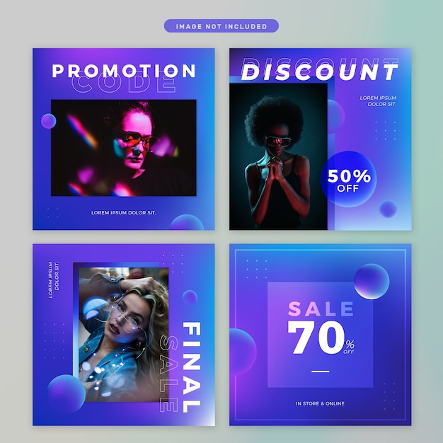 Social media post in neon theme Premium Psd