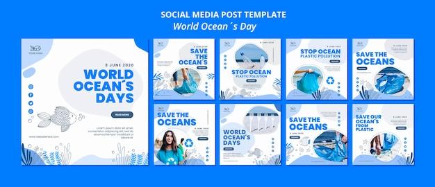 Social media post ocean day Free Psd