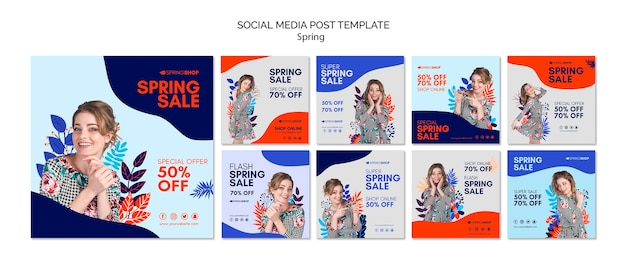 Social media post spring sale with woman and leaves Free Psd