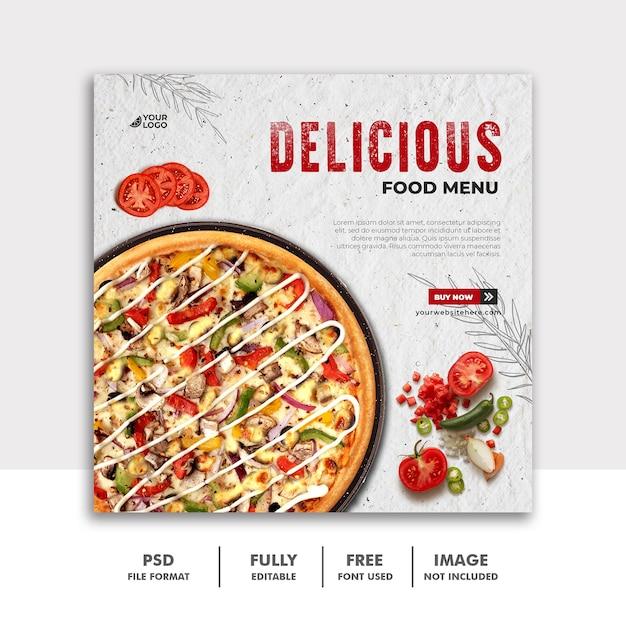 レストランピザのソーシャルメディア投稿スクエアバナーテンプレート Premium Psd