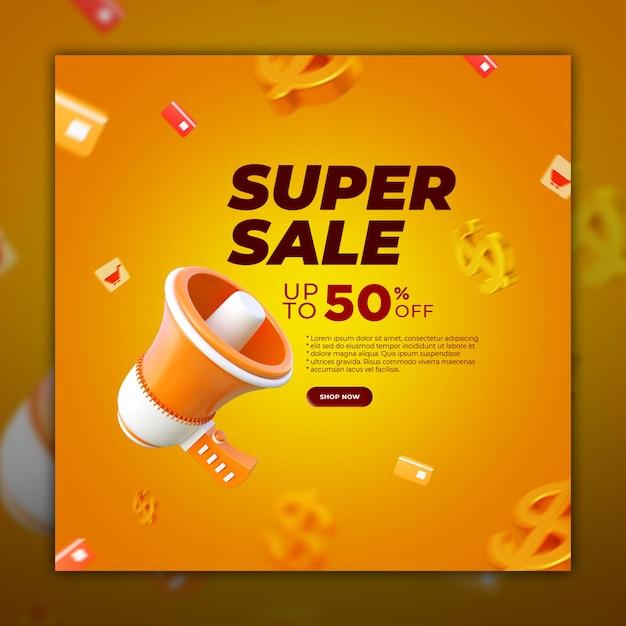 Social media post super sale banner with 3d render element