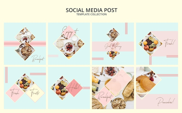 Social media post template collection with breakfast concept Free Psd