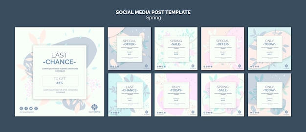Social media post template collection Free Psd