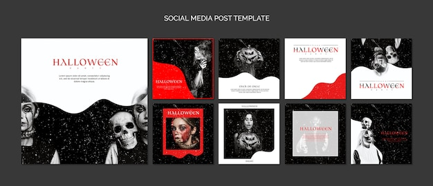 Social media post template compilation for halloween Free Psd