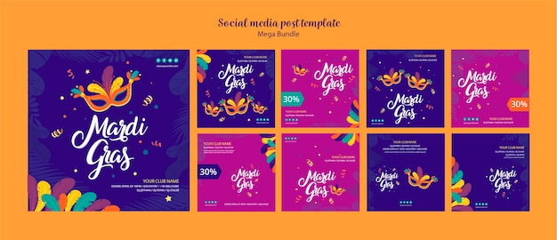 Social media post template concept for carnival Free Psd