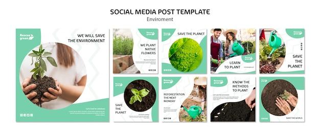 Социальные медиа пост дизайн шаблона с окружающей средой Бесплатные Psd