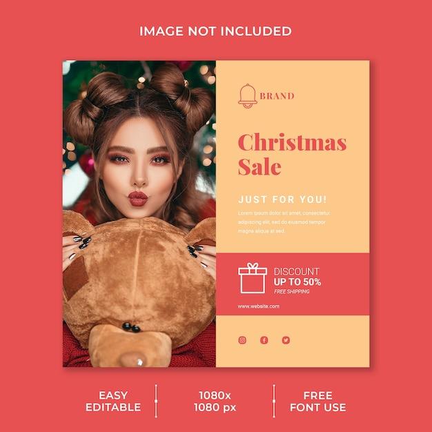 크리스마스 할인을위한 소셜 미디어 게시물 템플릿 프리미엄 PSD 파일