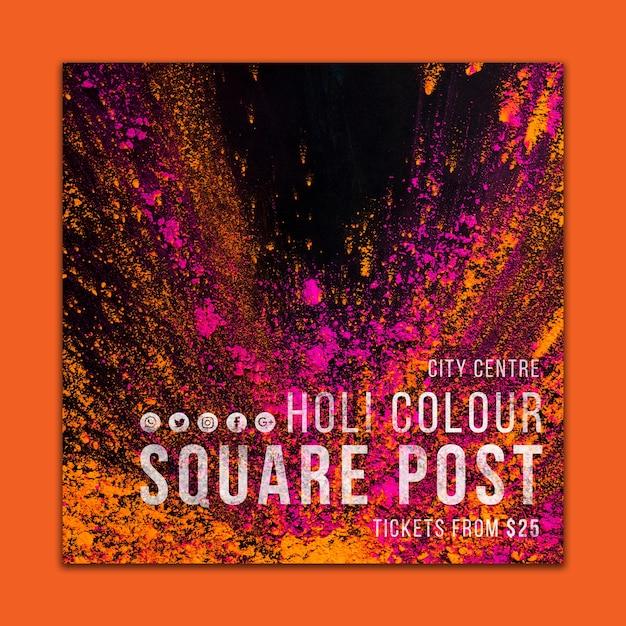 Social media post template for holi festival Free Psd