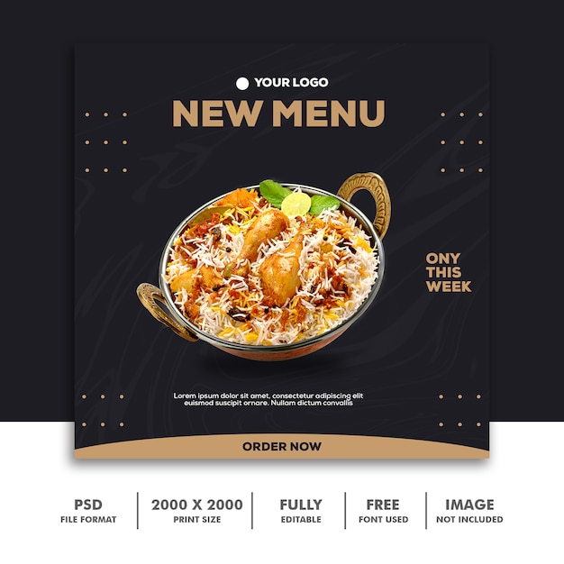 Social media post template instagram, food elegant luxury gold Premium Psd