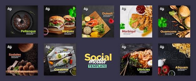 Social media post template for restaurant Free Psd