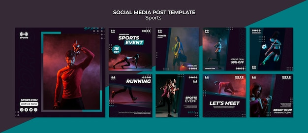 Social media post template for sport event Free Psd
