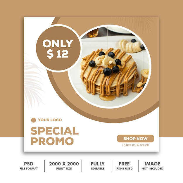 Social media post template square banner for instagram, restaurant food clean elegant modern pancake Premium Psd