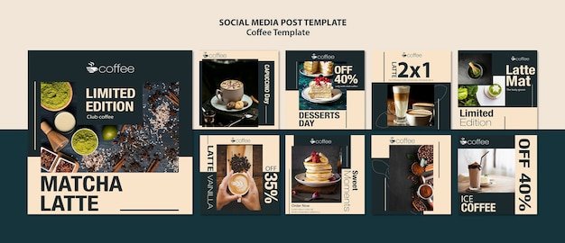 Social media post template theme with coffee Free Psd