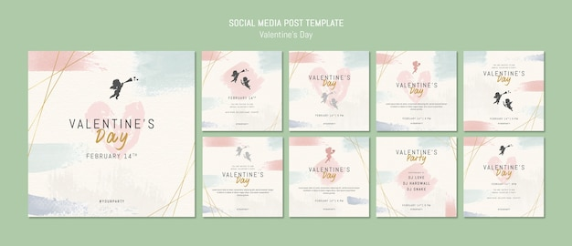 Social media post template for valentine's day Free Psd