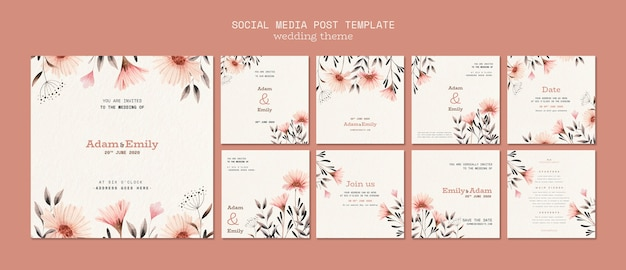 Social media post template for wedding Free Psd