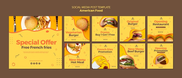 Social media post template with american food Free Psd