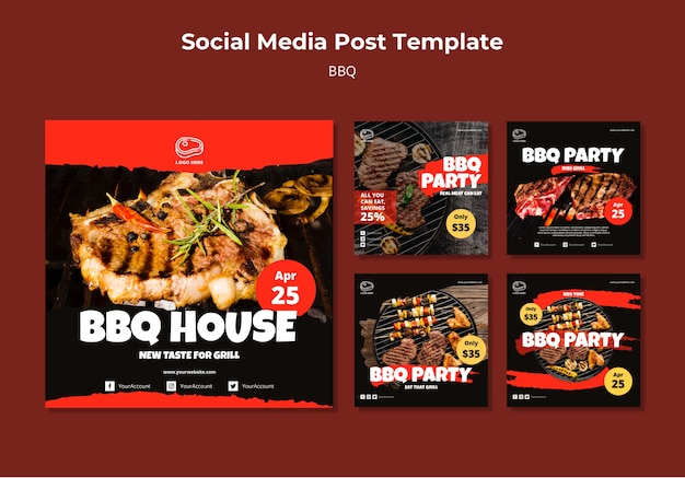 Social media post template with barbeque Premium Psd