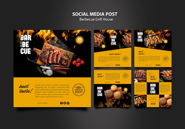 Social media post template with barbeque Free Psd