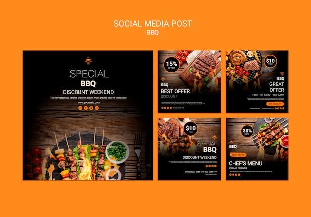 Шаблон поста в социальных сетях с барбекю Premium Psd