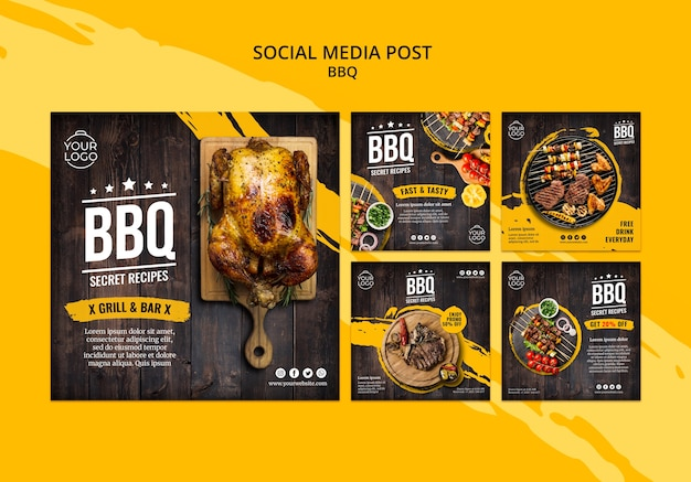 Social media post template with bbq Premium Psd