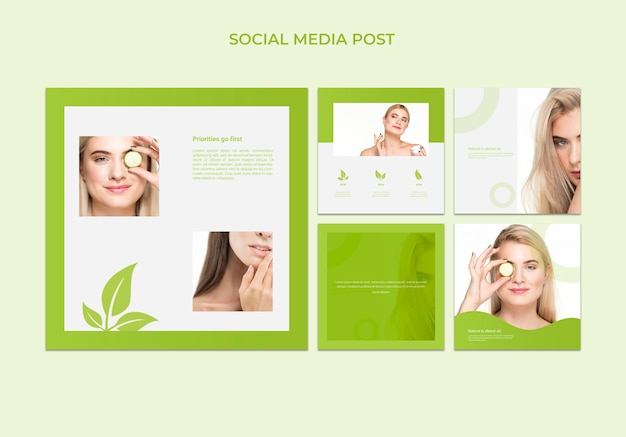 Social media post template with beauty concept Free Psd